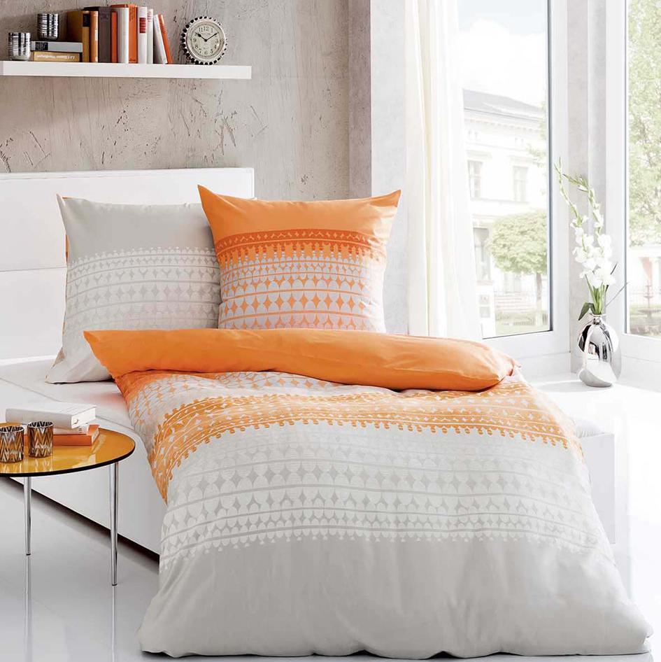 posteljnina kaeppel linon - oranžna