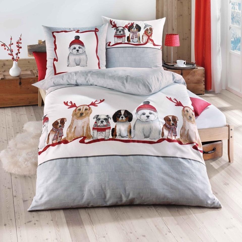otroška posteljnina iz flanele - božični kužki